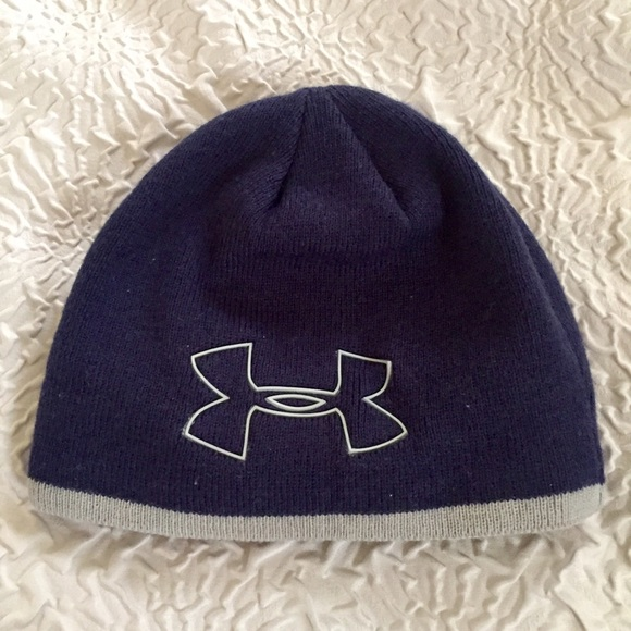 Boys Under Armour Navy and gray beanie ski cap 1d0be6af2a7